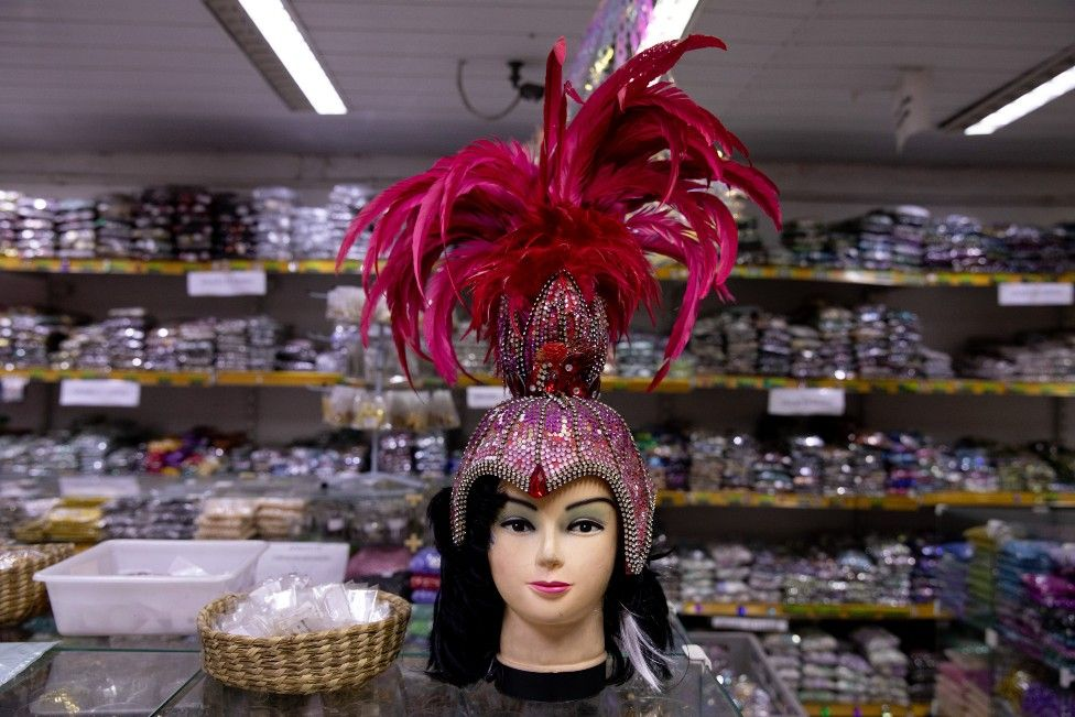 A headdress is displayed on a mannequin's head