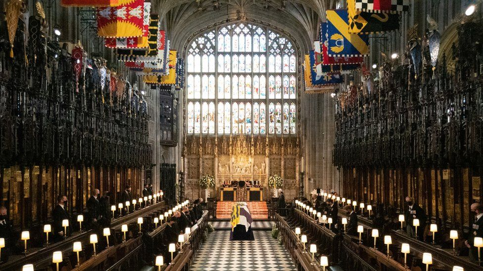 The coffin of the Duke of Edinburgh during his funeral at St George's Chapel, Windsor Castle, Berkshire