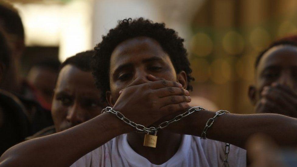 Oromo protester in Malta