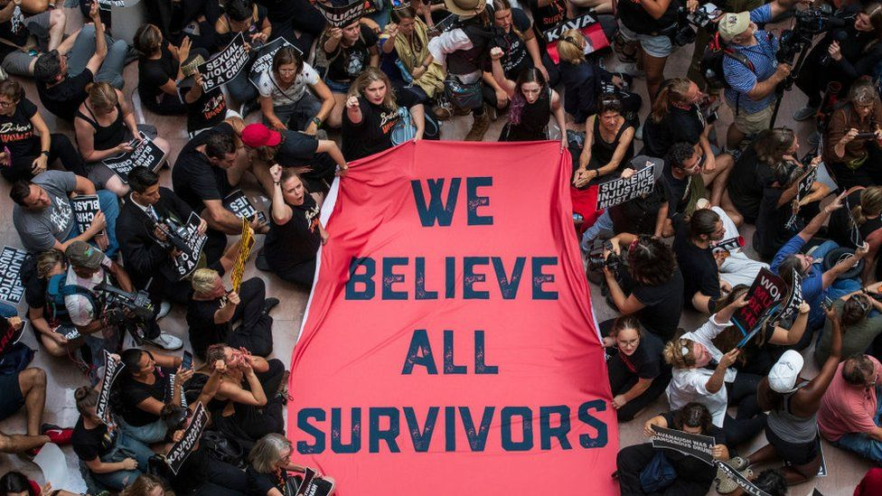 Protestors rally against Supreme Court nominee Judge Brett Kavanaugh in the atrium of the Hart Senate Office Building on Capitol Hill, 4 October, 2018 in Washington, DC