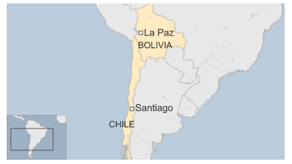 Map of Chile and Bolivia