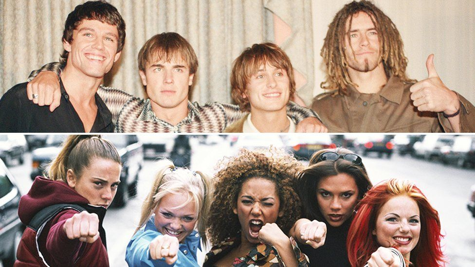 Split screen of Take That and the Spice Girls