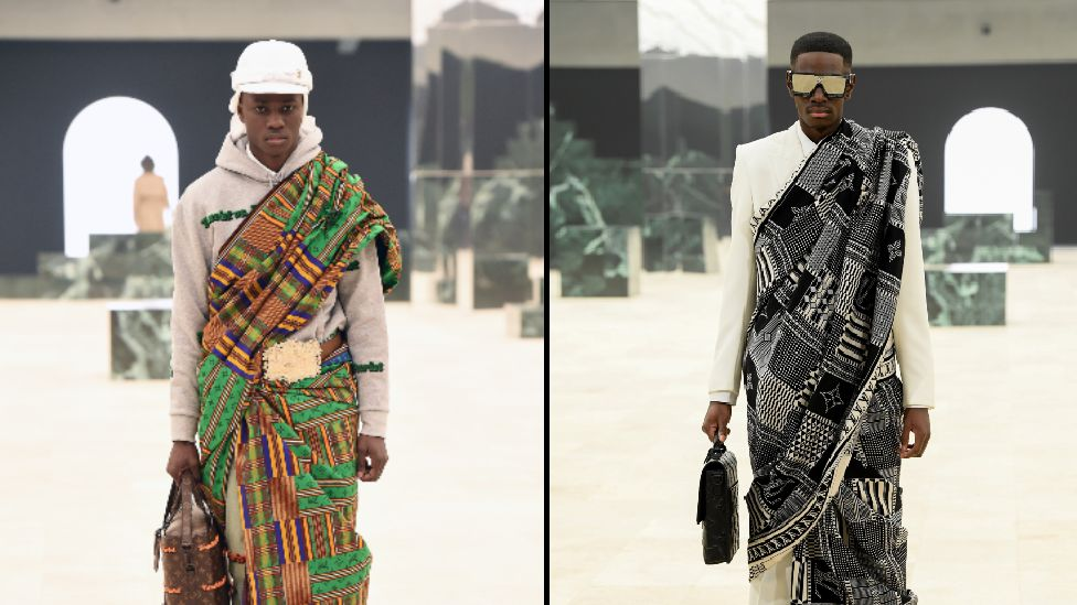 Composite of models wearing kente cloth