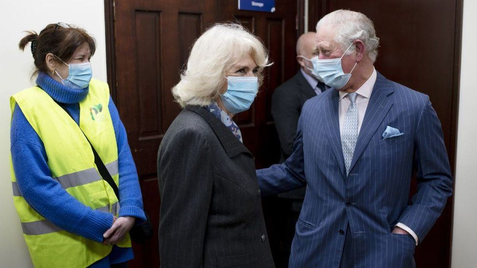 Duchess of Cornwall and Prince Charles at a vaccination centre