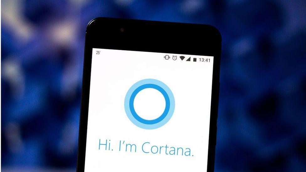 Microsoft Cortana logo on a phone