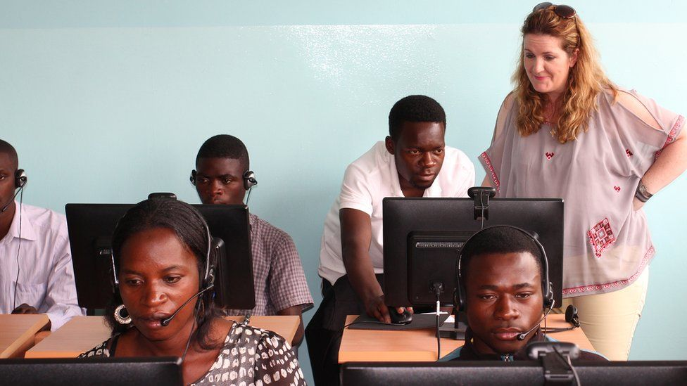 Ciara Duffy with the online students in Zambia