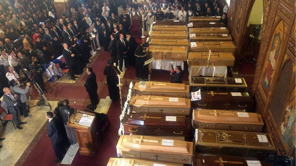 Funerals of victims of an attack near the Coptic Cathedral in Cairo