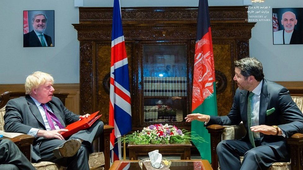 Boris Johnson meeting deputy Afghan foreign minister Hekmat Karzai in Kabul