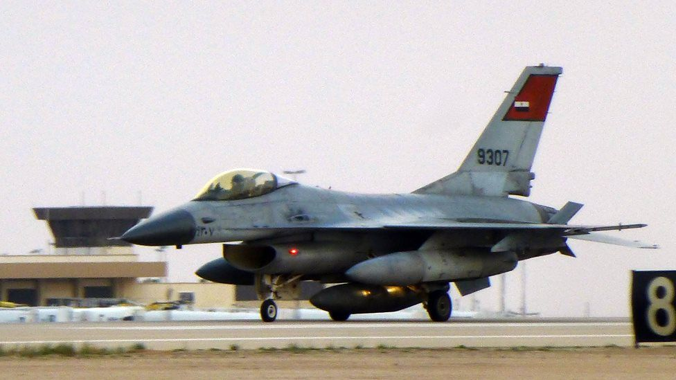 Egyptian Air Force F-16 on a Saudi airbase