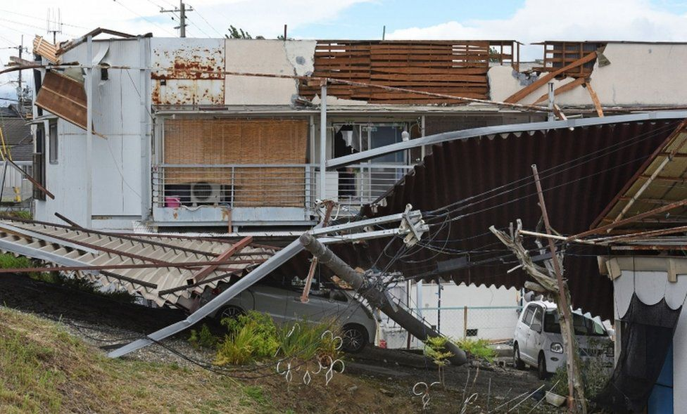 Damage to a residential apartment caused by Typhoon Jongdari is seen in Nara on July 29, 2018