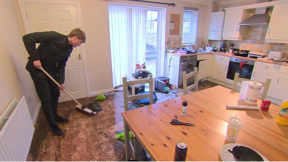 Flood damage in house