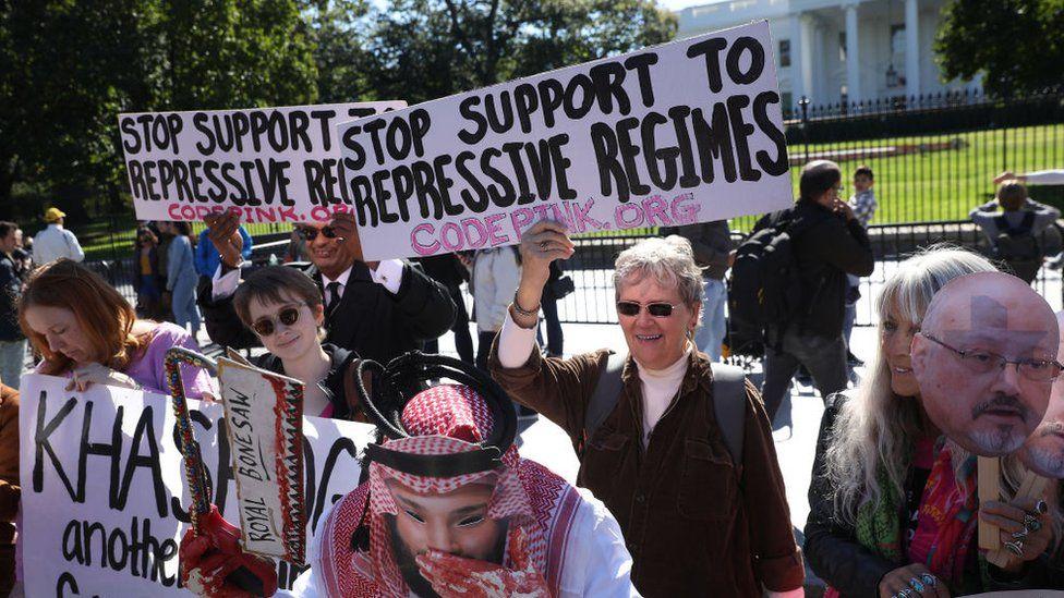 Protest against Saudi Arabia's human rights record, Washington (Oct 2019)