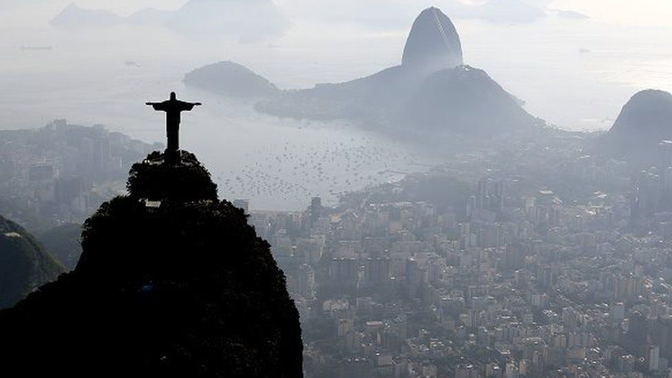 Aerial view of Christ the Redeemer, the Sugar Loaf and Guanabara Bay