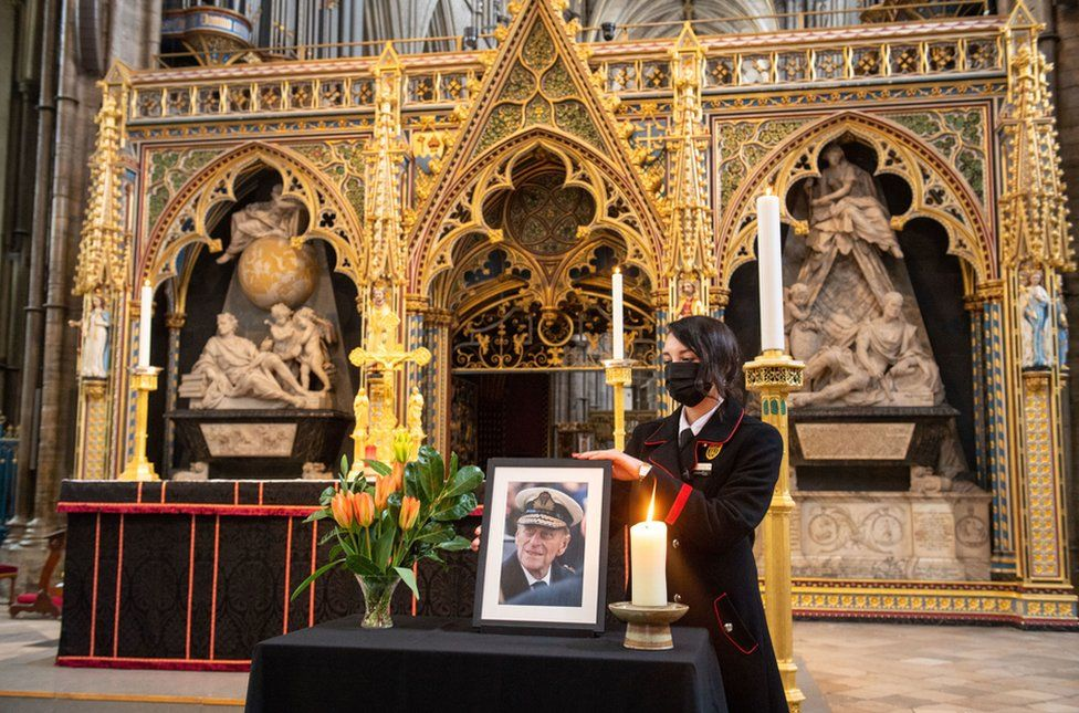 A tribute to Duke of Edinburgh is displayed alongside the nave at Westminster Abbey in London.
