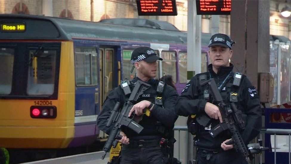 British Transport Police armed counter-terrorism officers at Manchester's Piccadilly station