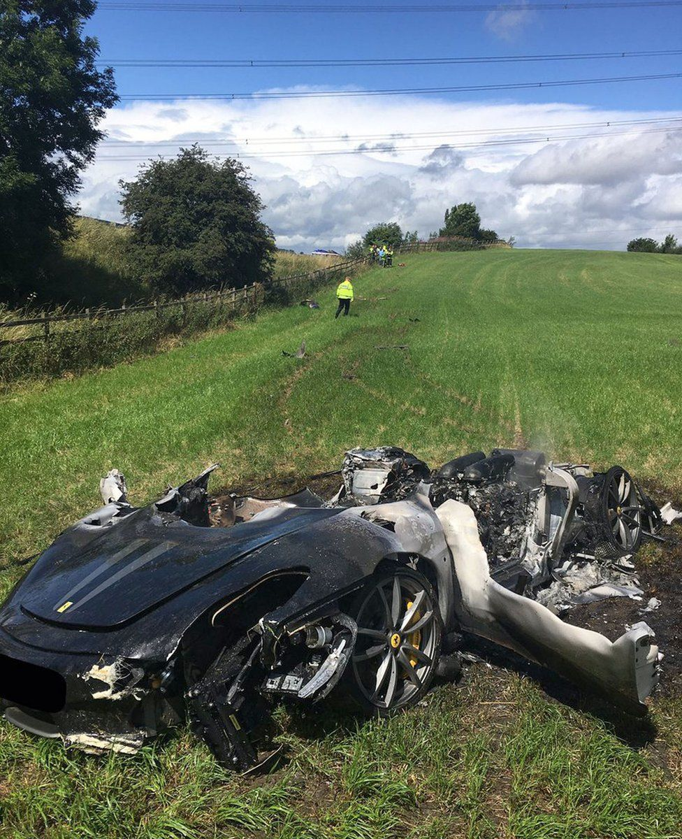 Crashed Ferrari