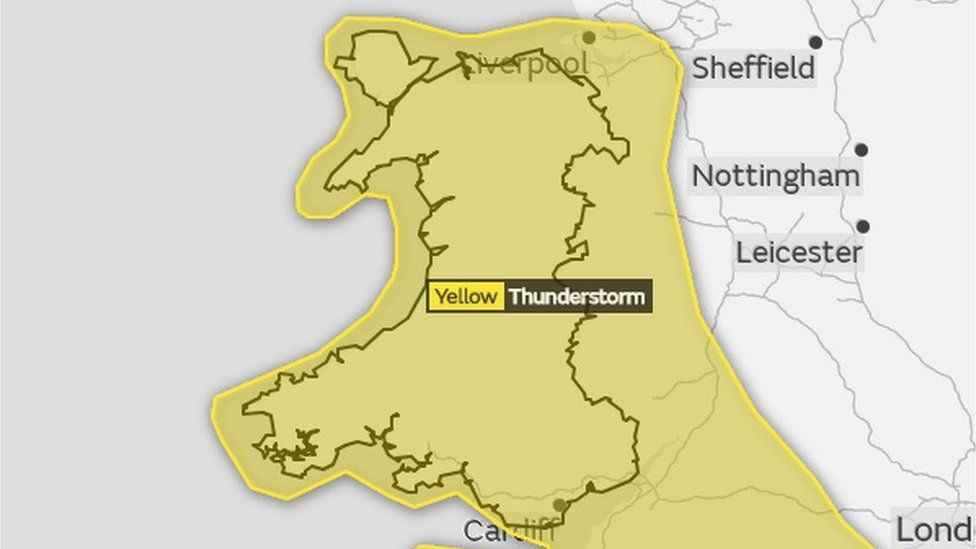 Met Office map of Wales with yellow weather warning