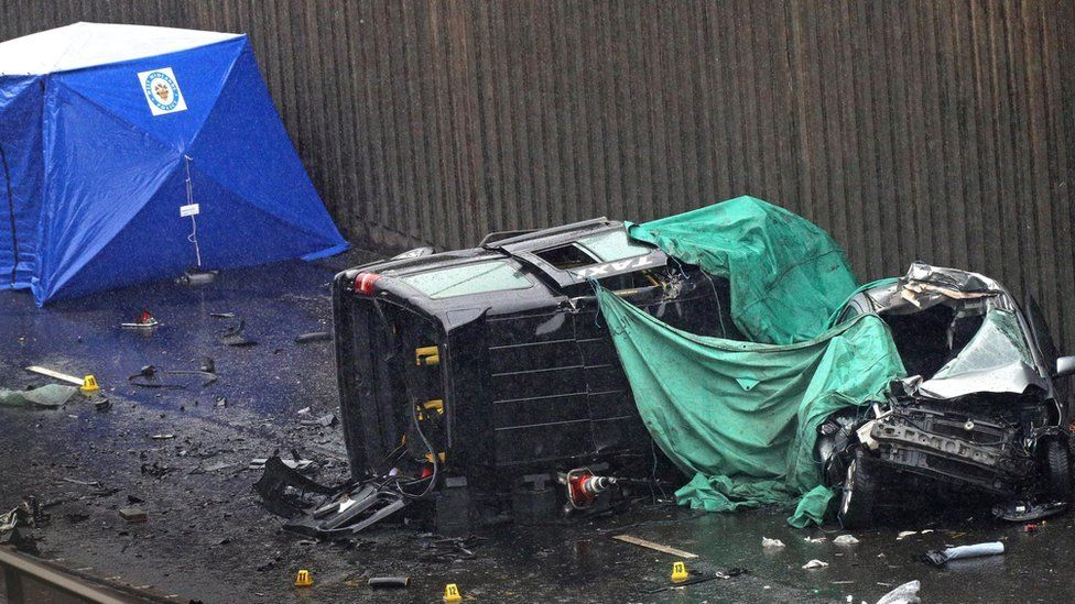 Two vehicles involved in the crash in the underpass