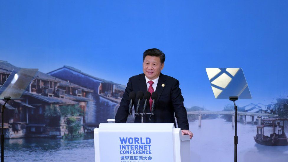 Chinese President Xi Jinping delivers a speech at the opening ceremony of the World Internet Conference in Wuzhen