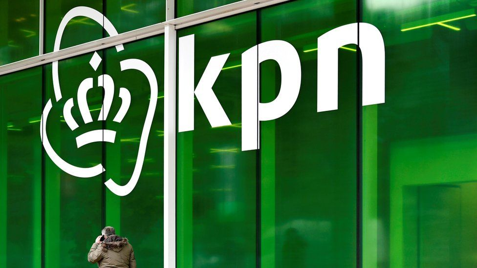 KPN logo is seen at its headquarters in Rotterdam, Netherlands