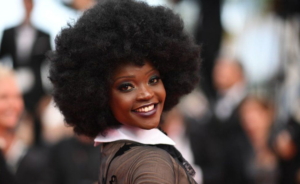 Tanzanian model Miriam Odemba arrives on May 18, 2018 for the screening of the film 'The Wild Pear Tree (Ahlat Agaci)' at the 71st edition of the Cannes Film Festival in Cannes, southern France.
