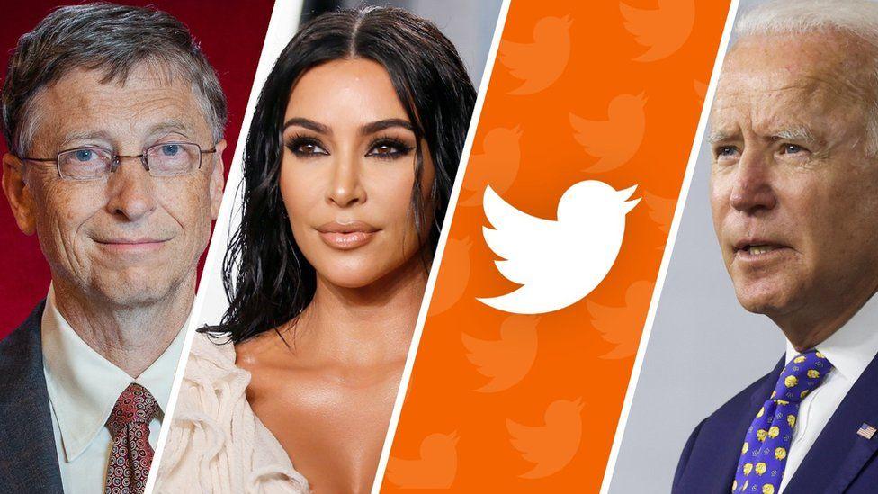 A four-part compiste shows Bill Gates, Kim Kardashian, the Twitter logo, and Joe Biden