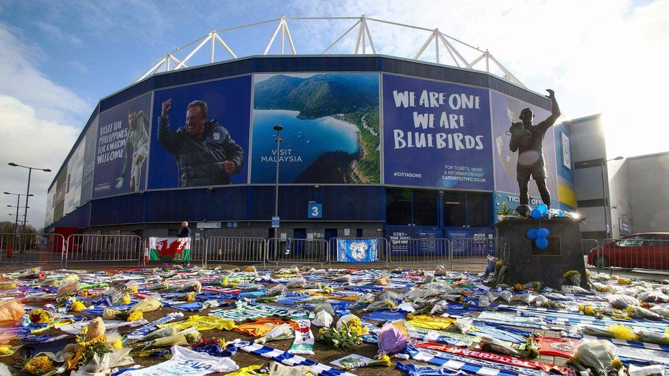 The area around Cardiff City's stadium covered in floral tributes to Emiliano Sala