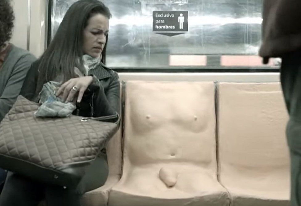 A seat, moulded to include a protruding penis and chest, was designed to highlight sexual harassment experienced by female passengers in Mexico City