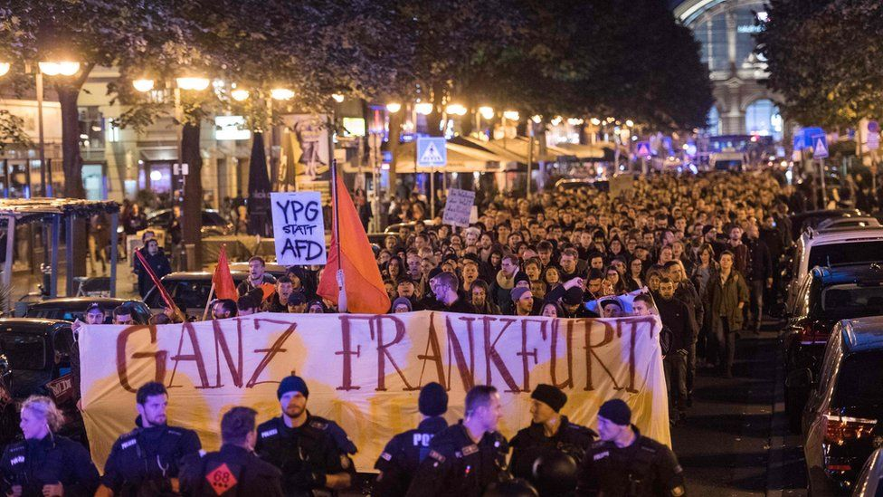 Protesters took to the streets to voice their opposition to the AfD breakthrough