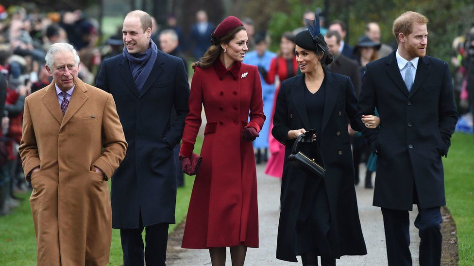 The Prince of Wales, the Duke of Cambridge, the Duchess of Cambridge, the Duchess of Sussex and the Duke of Sussex attending the Christmas Day Church service in 2018