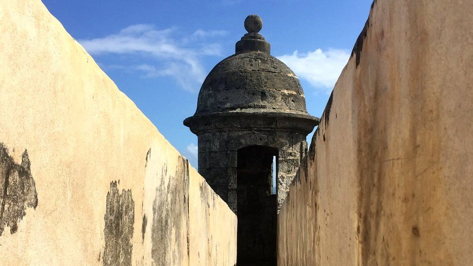 A watch tower on an old fort in San Juan, Puerto Rico