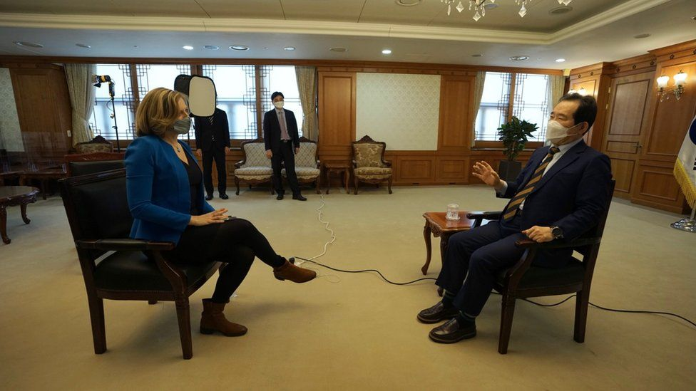 South Korean PM Chung Sye-kyun attends BBC interview in Seoul