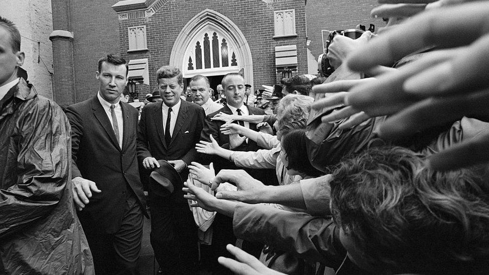 John Kennedy, seen attending church in Kentucky in 1962, was the first Catholic US president
