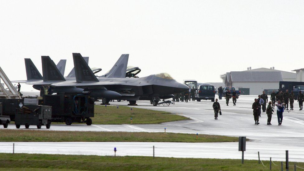 Fighter jets on US base in Okinawa