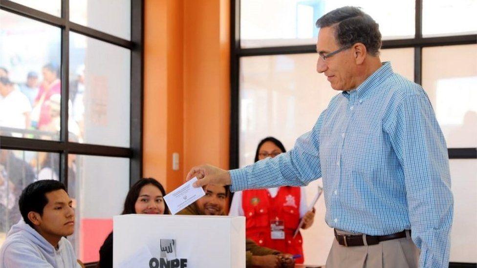 Peru's President Martin Vizcarra voting in Congress elections, 26 January 2020
