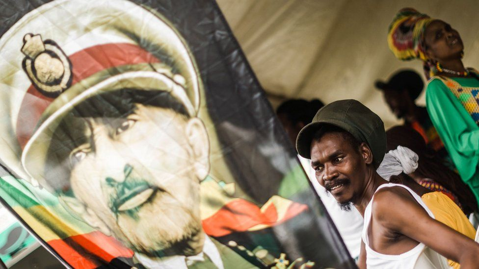 """Rastafarian Reggae fans take parts in the Bob Marley """"One Love"""" Festival and Rasta Fair to commemorate and celebrate the life of Bob Marley at the North Beach Amphitheatre in Durban, South Africa on February 3, 2019"""