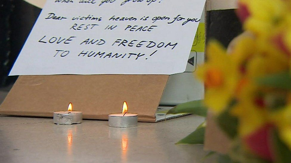 Tributes have been left outside the Belgian embassy in London