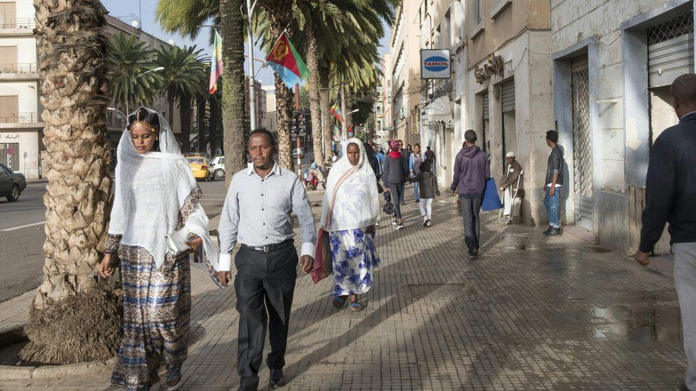 Street scene in Asmara the capital of Eritrea