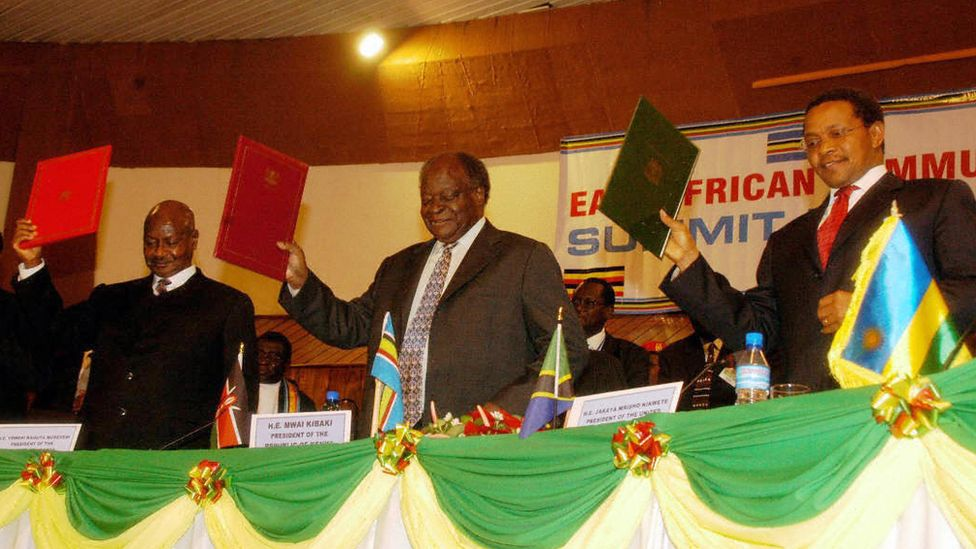 Leaders of Uganda, Kenya and Tanzania launch East African development strategy plan for 2006-2010, Arusha, Tanzania