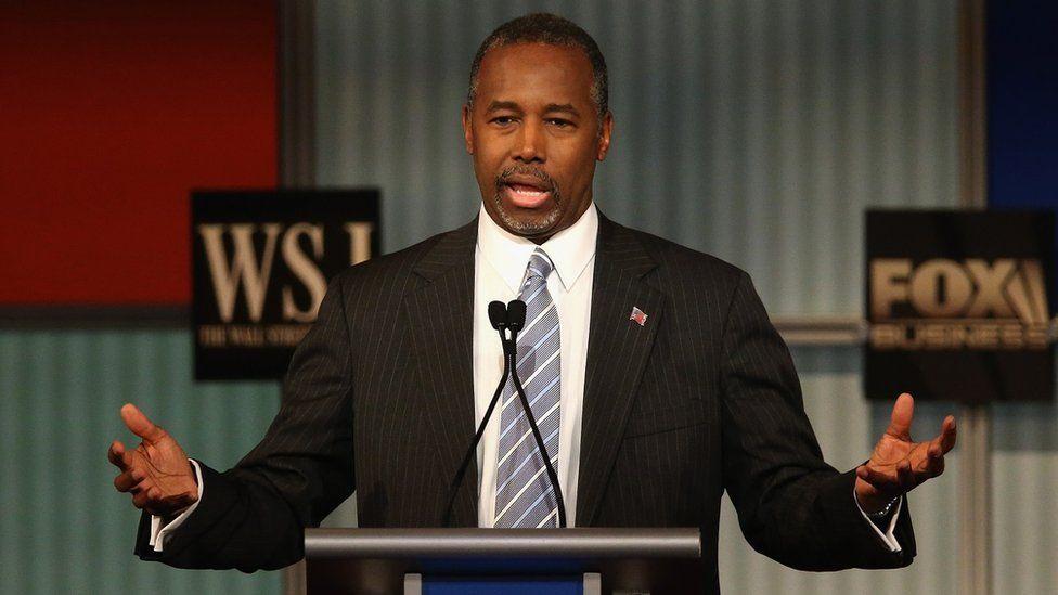 Ben Carson speaks at the Republican presidential debate in Wisconsin.