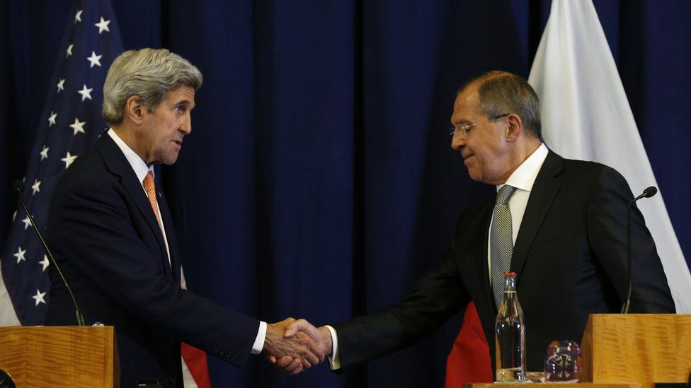 John Kerry and Sergei Lavrov shaking hands during news conference in Geneva on 9 September 2016