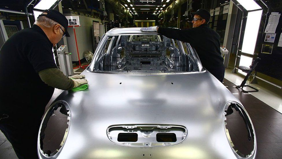 Workers at a BMW Mini car production plant, Cowley, Oxford