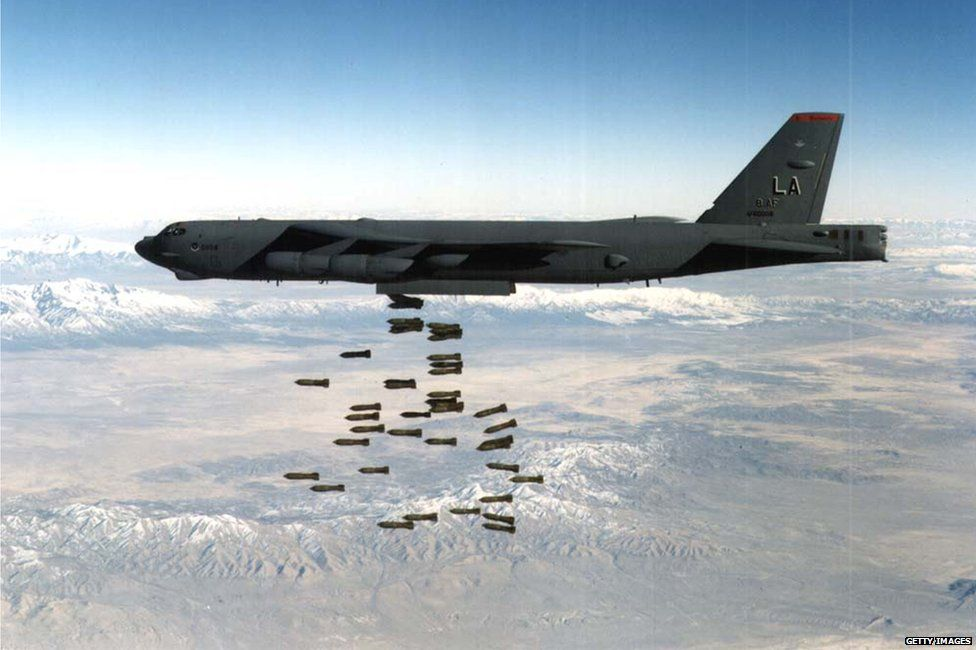 B-52 dropping bombs