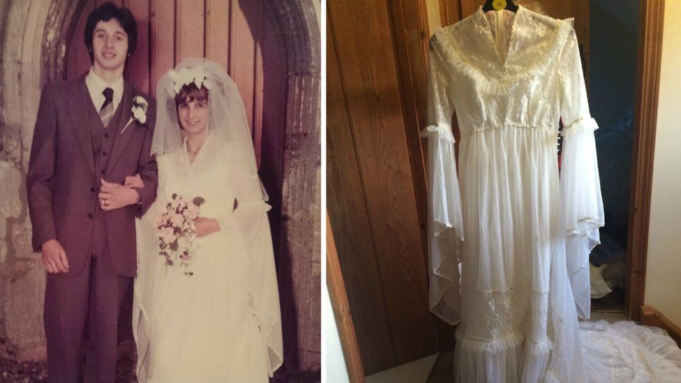 Stephen and Marilyn Clark and Emily Clark's wedding dress