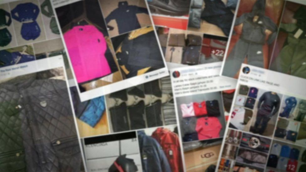 Counterfeit goods for sale on Facebook - blurred