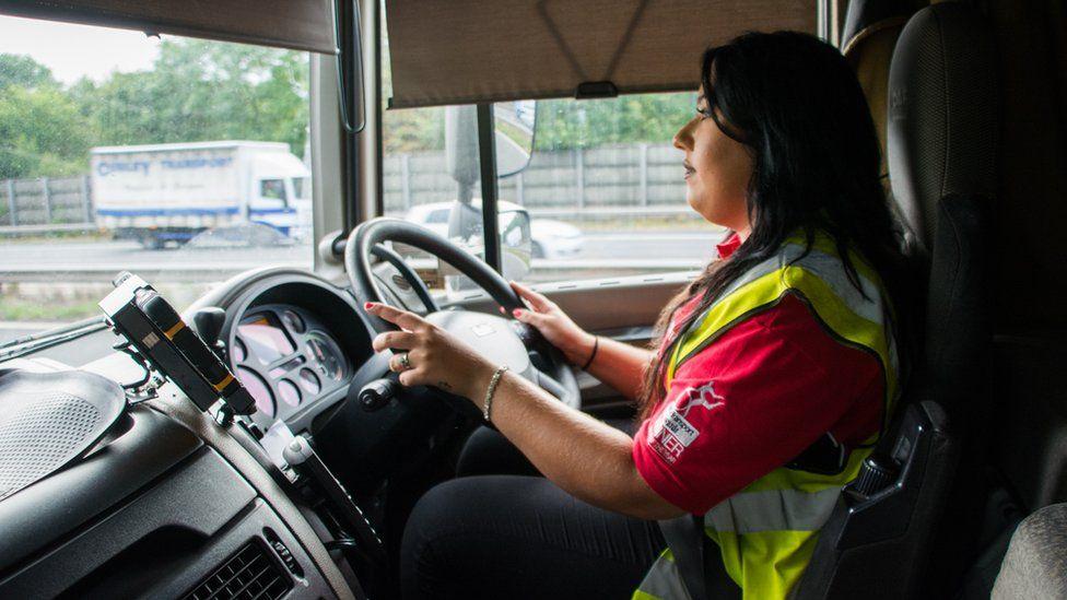 Leonie John driving a HGV lorry