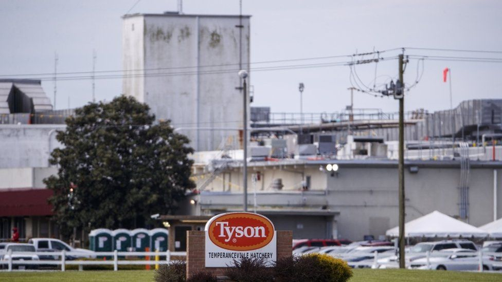 Tyson Foods poultry processing plant in Temperanceville, VA