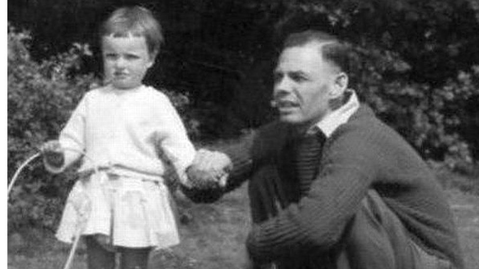 Lin Mount and her father after the war