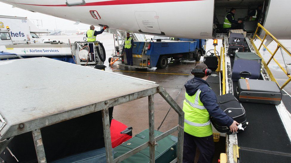 baggage being loaded on to a plane