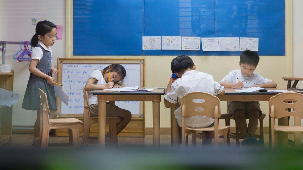 Young children at a cram school in Seoul